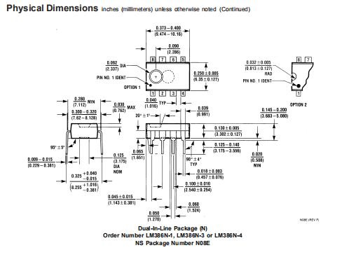 LM386 Physical Dimensions