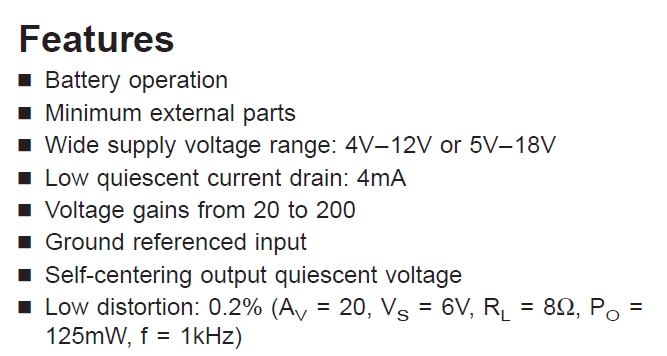LM386N-1 Features