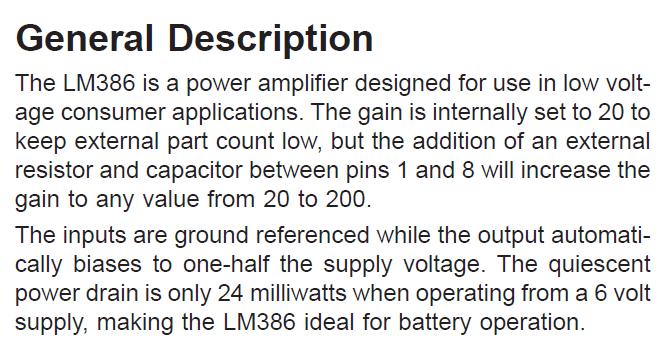 LM386N-1 General Description