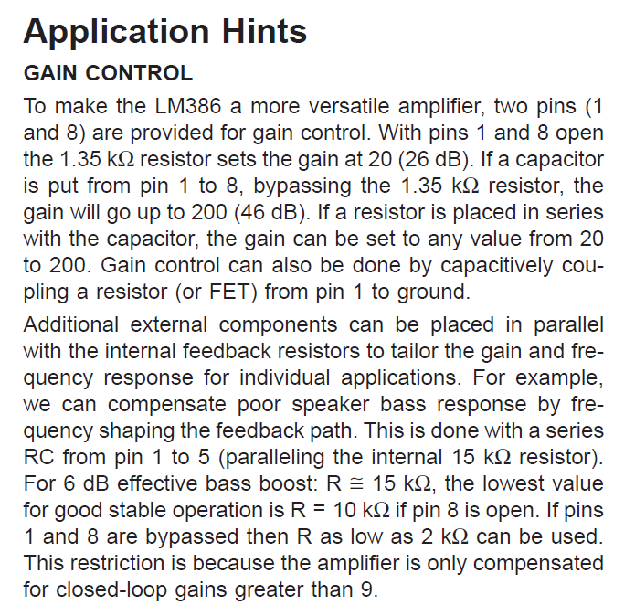 LM386N-3 Application Hints GAIN CONTROL