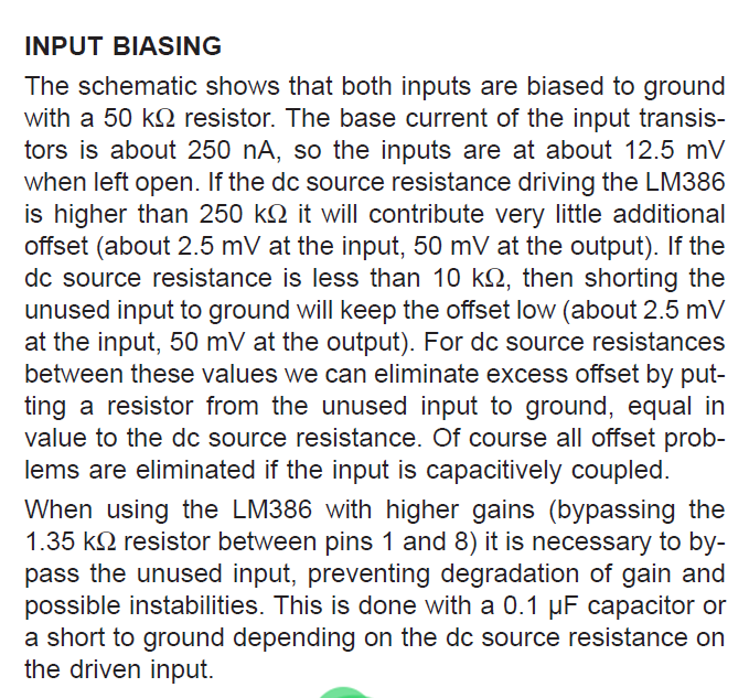 LM386N-3 Application Hints INPUT BIASING