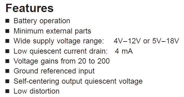 LM386N-3 Features