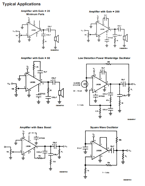 LM386N-3 Typical Applications
