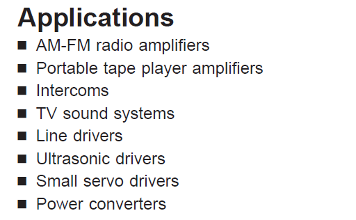 LM386N-4 Applications