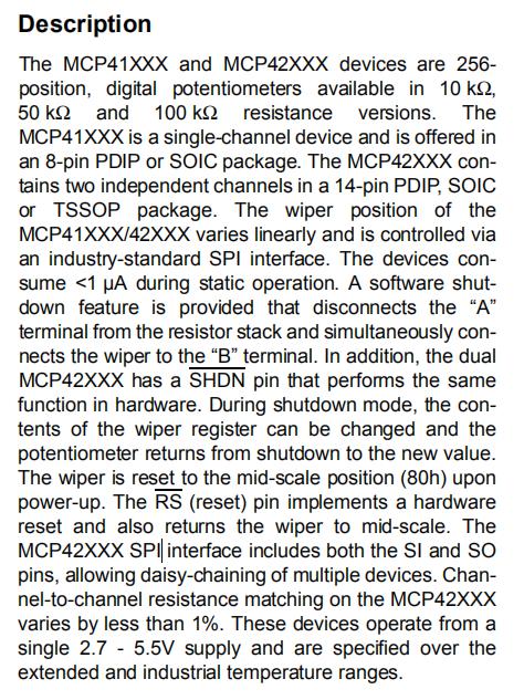 MCP42050 Description