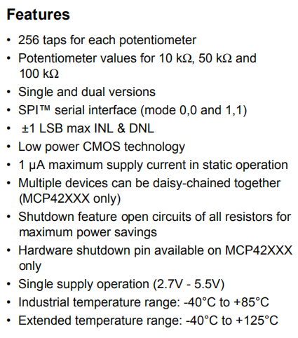 MCP42050 Features