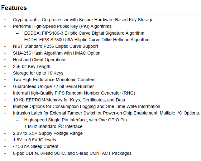 MICROCHIP ATECC508A Features