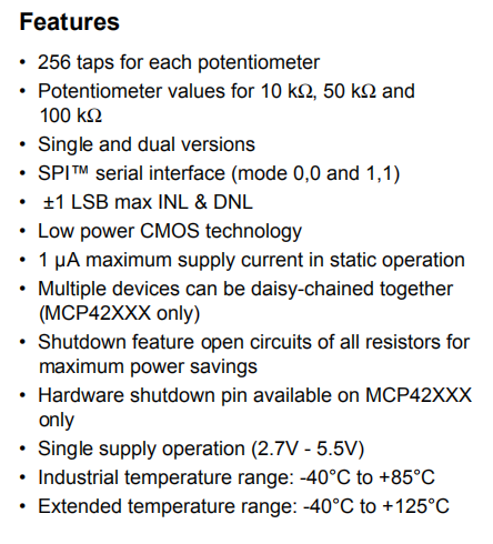 Mcp42010 Features