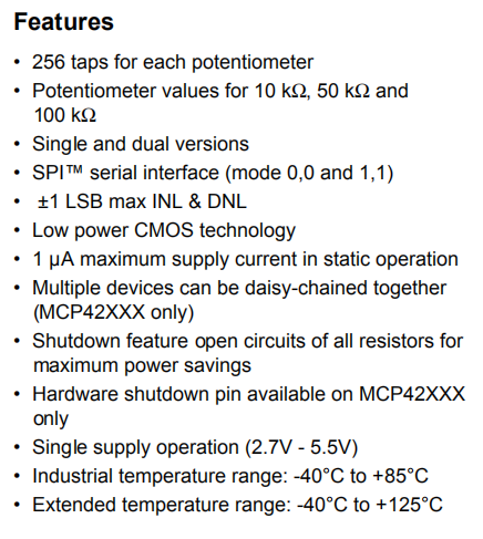 Mcp42100 Features