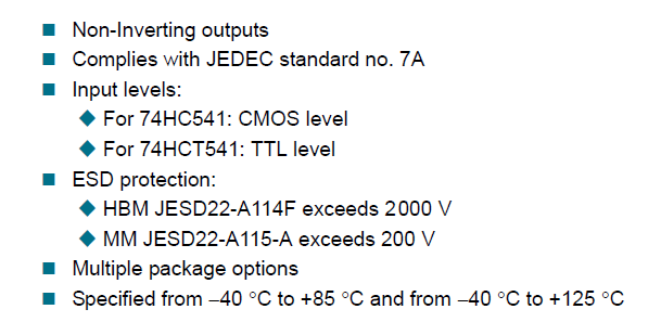 74HC541, 74HCT541 Features and benefits