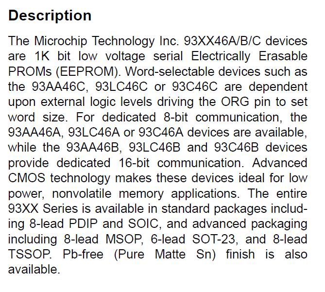 93LC46BT-I/ST Description