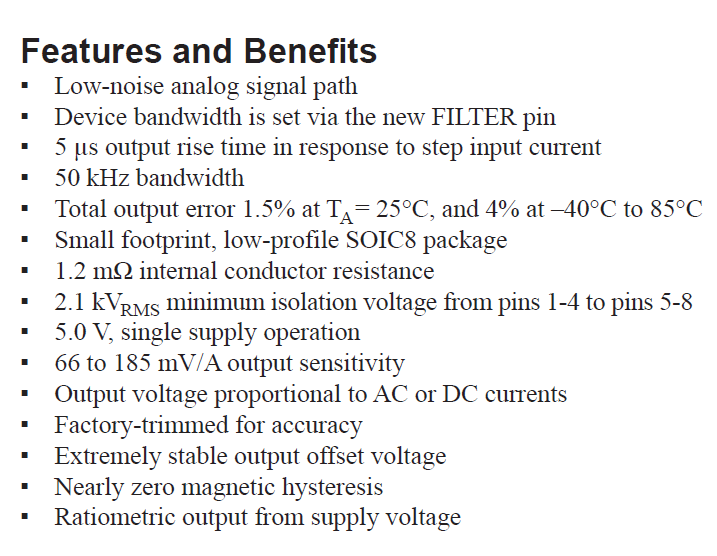 ACS712ELCTR-20A-T Features and Benefits