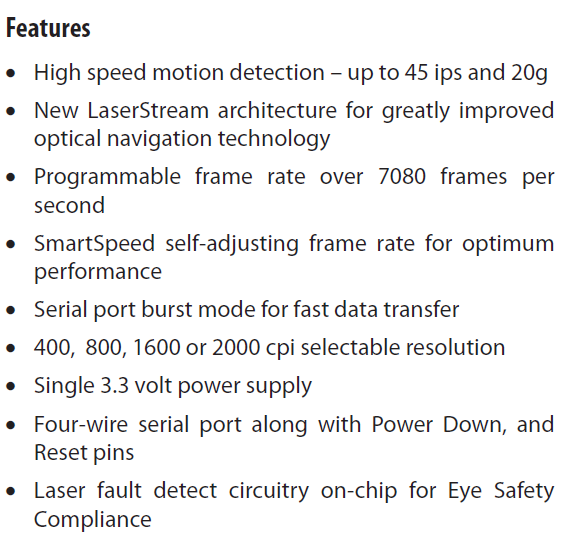 ADNS-6010 Features