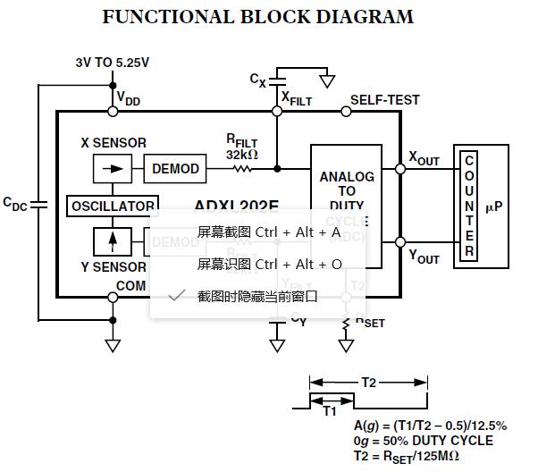 ADXL202JE FUNCTIONAL BLOCK DIAGRAM