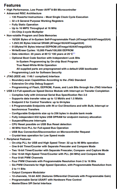 ATMEGA32U4-AU Features
