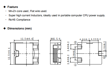CEP125NP-2R5MC Feature and Dimensions