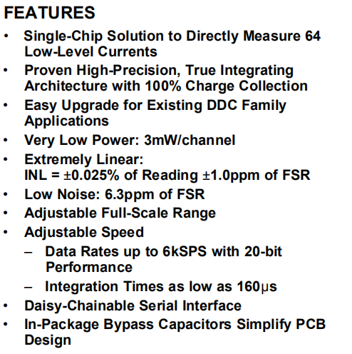 DDC264CZAW FEATURES