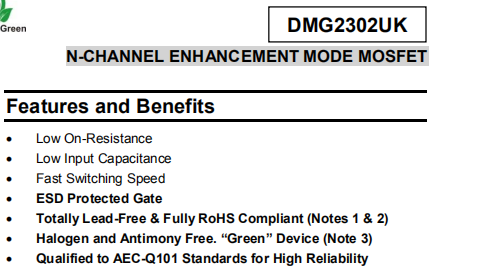 DMG2302UK-7 Features and Benefits