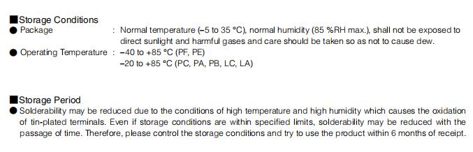 ELJPA4R7MF Storage Conditions and Period