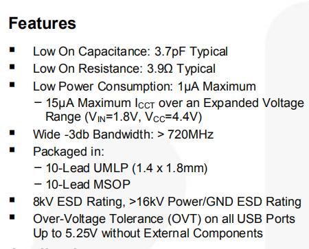 FSUSB42MUX Features