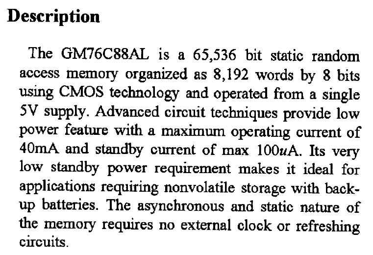 GM76C88ALK-15 Description