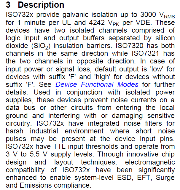 ISO7321CDR Description