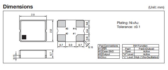 KC2520C54.0000C2LE00 Dimensions