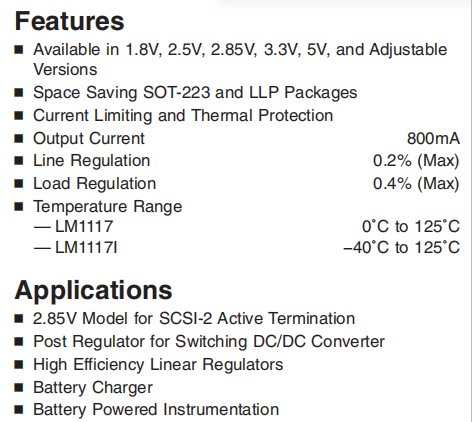 LM1117IMPX-ADJ Features and Applications