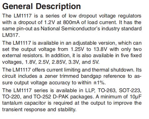 LM1117IMPX-ADJ General Description