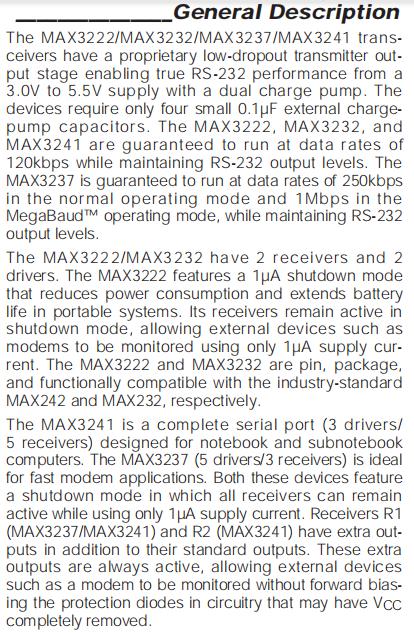 MAX3222-MAX3232-MAX3237-MAX3241 Description