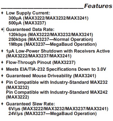 MAX3232EUE Features