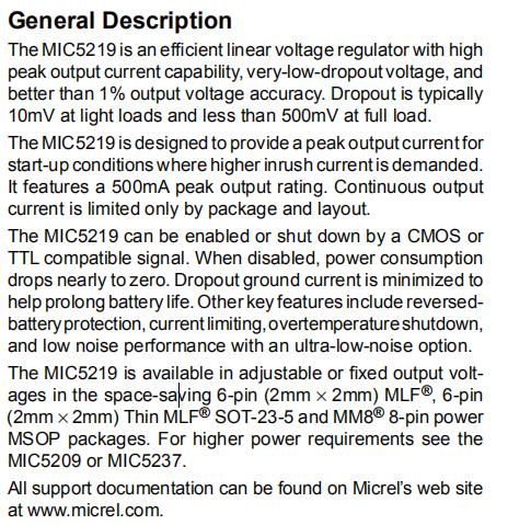 MIC5219 General Description