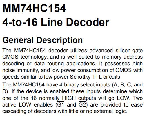 MM74HC154N General Description