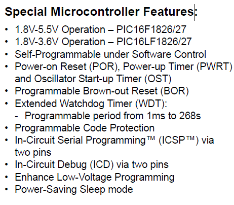 PIC16F1826-I/SO Special Microcontroller Features