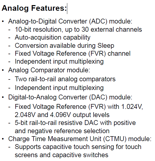 PIC18F25K22T-I/SS Analog Features