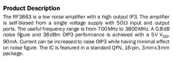 RF3863 Product Description