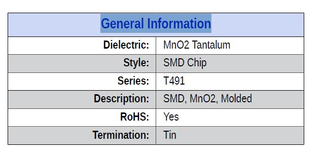 T491D227K016AT General Information