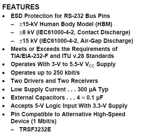 TRS3232EIDR FEATURES