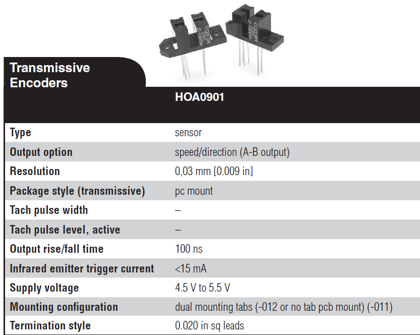 Transmissive Encoders HOA0901-011