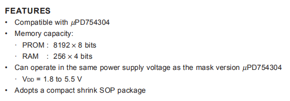 UPD75P4308GS FEATURES