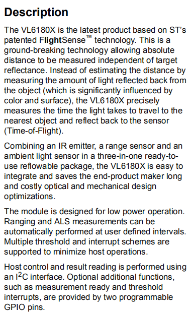 VL6180XV0NR/1 Description