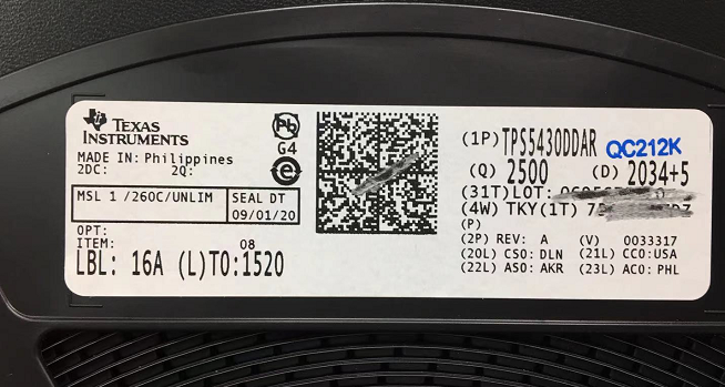 TPS5430DDAR label